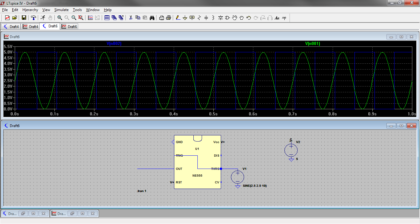 Designing A Triangle Square Wave Vco Part 1 Harris Electronics Scmitt Trigger Circuit Using Ne 555 As You Can See With Sine Between 0 And 5v Present On The Threshold Pins Of Timer In Schmitt Configuration